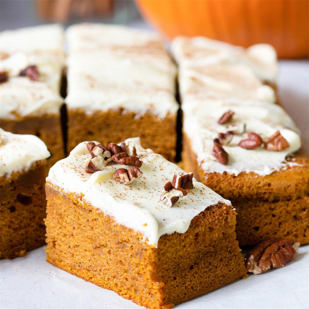 Pumpkin Sheet Cake With Cream Cheese Frosting-Healthy Life Trai