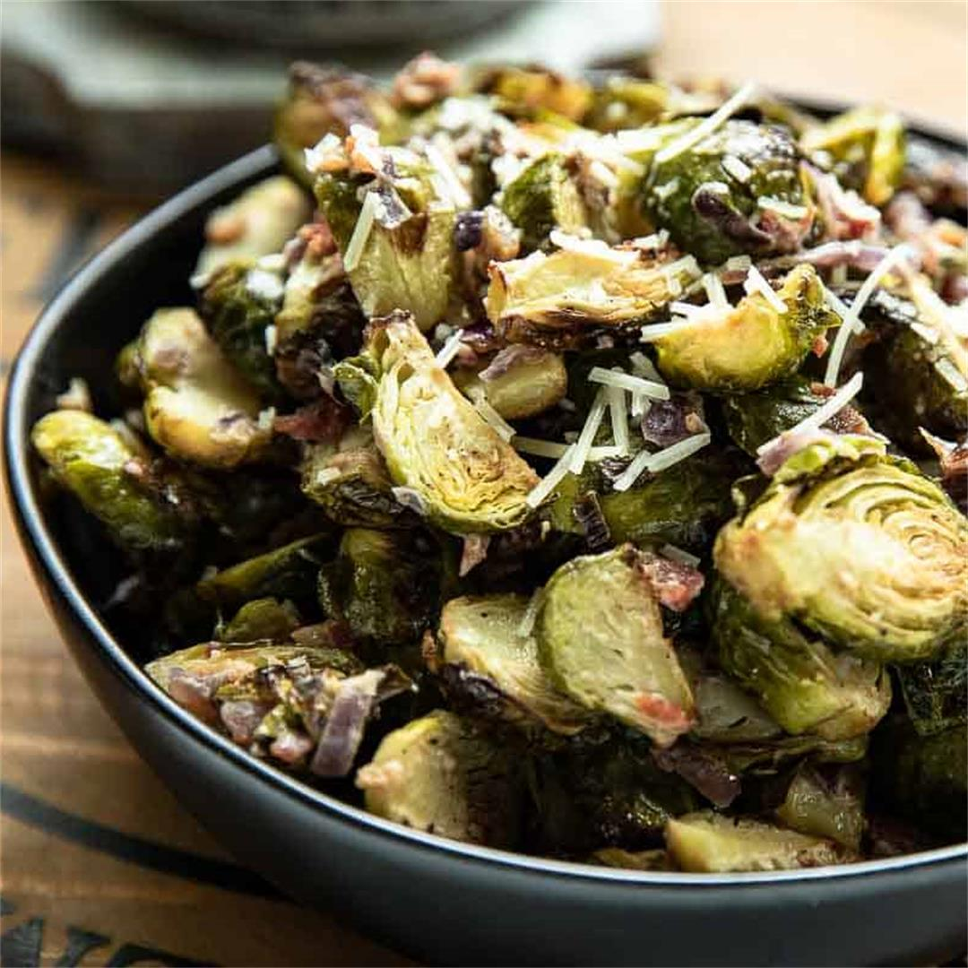 Roasted Brussels Sprouts in Creamy Parmesan Sauce