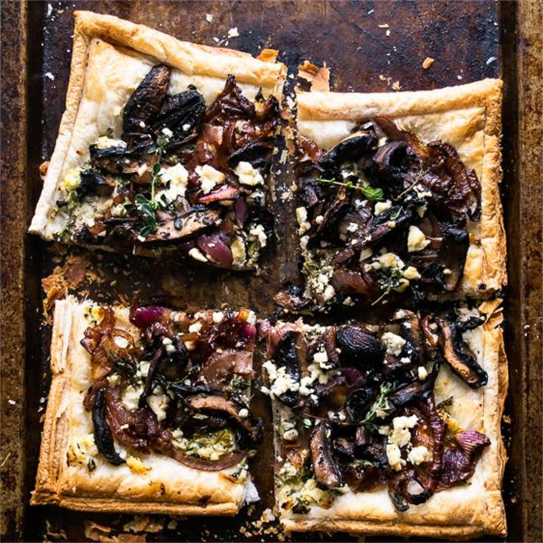Mushroom Ricotta and Caramelised Onion Tart