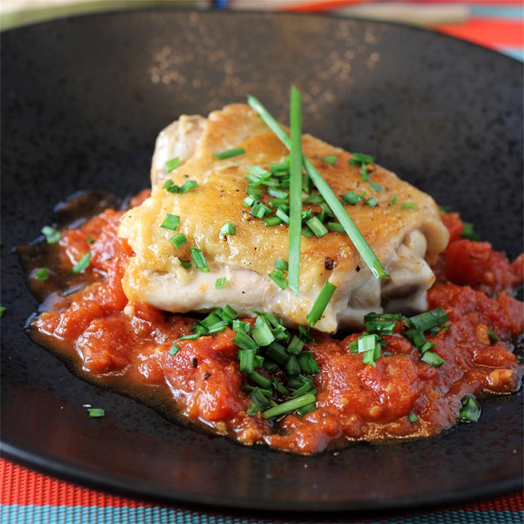 Jacques Pepin's Chicken in Vinegar with Garlic and Tomato Sauce