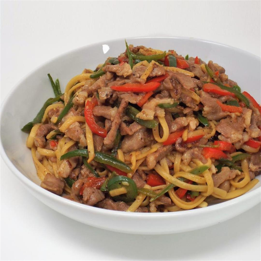 Hot Pepper Pork with Noodles