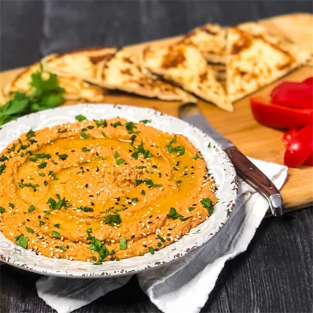Roasted Red Pepper Walnut Hummus Recipe