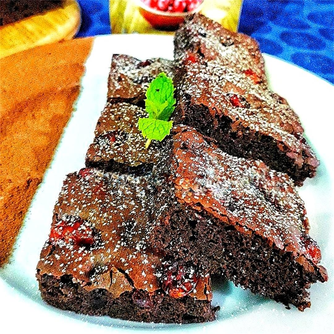 Eggless Cranberry Brownies