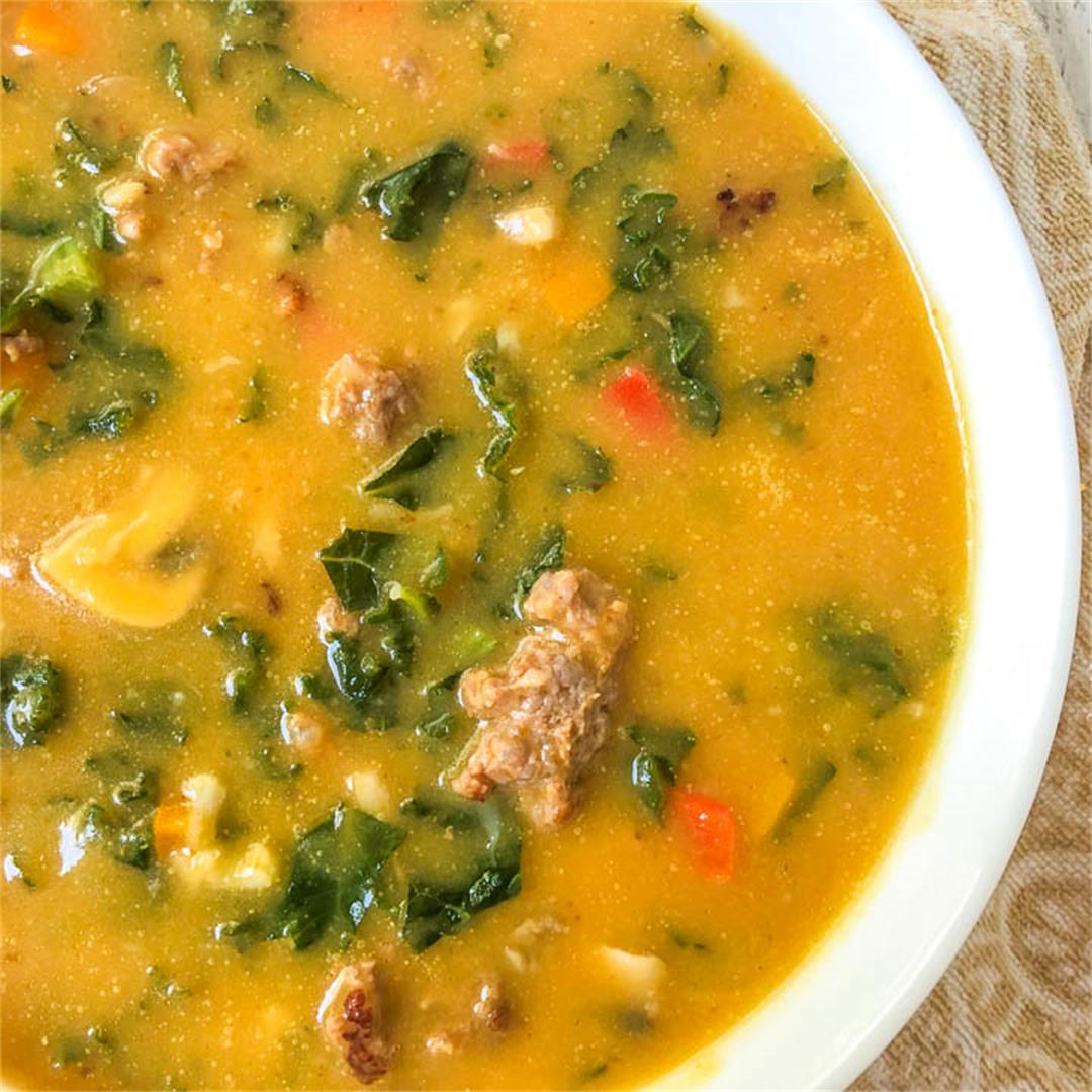 Keto Pumpkin Soup Recipe with Sausage & Kale