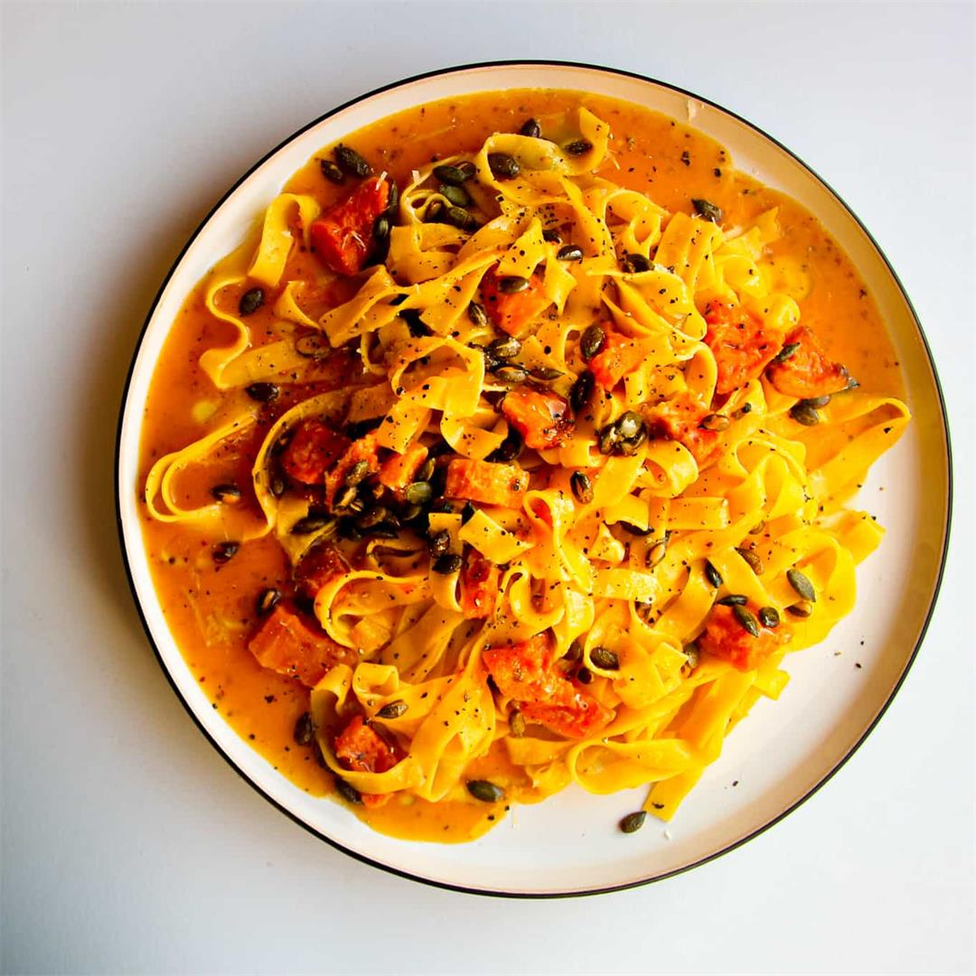 Butternut Squash Pasta with Chili & Toasted Pumpkin Seeds