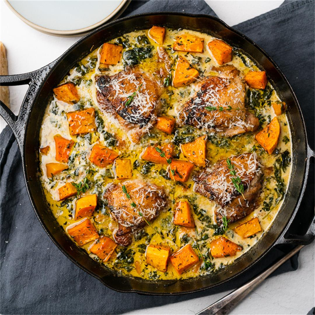 Creamy Chicken and Butternut Squash Skillet Recipe