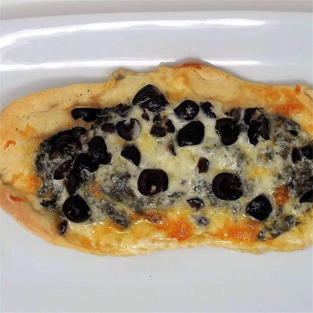Spinach and Black Olive Pide