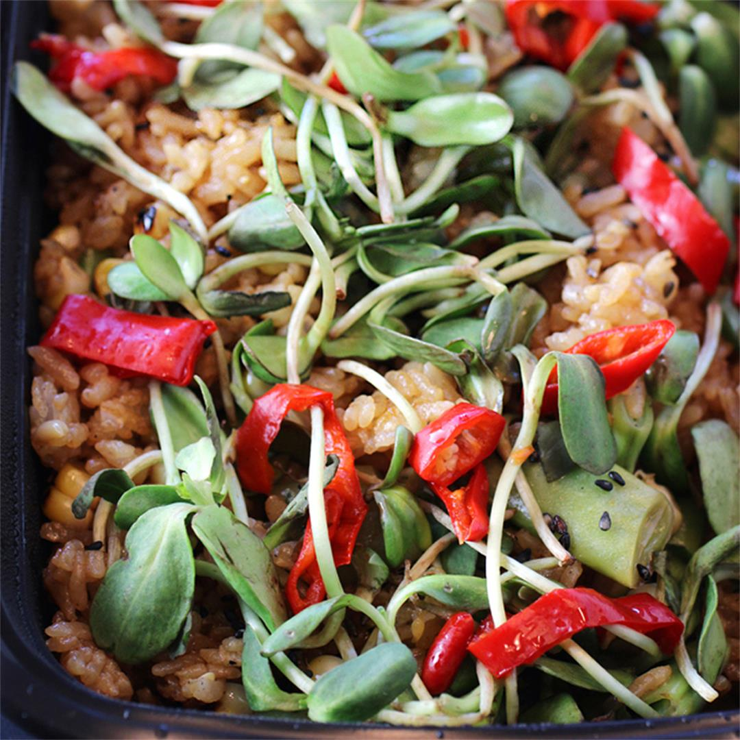 Fried rice with tahini, Fresno chilies and radish sprouts