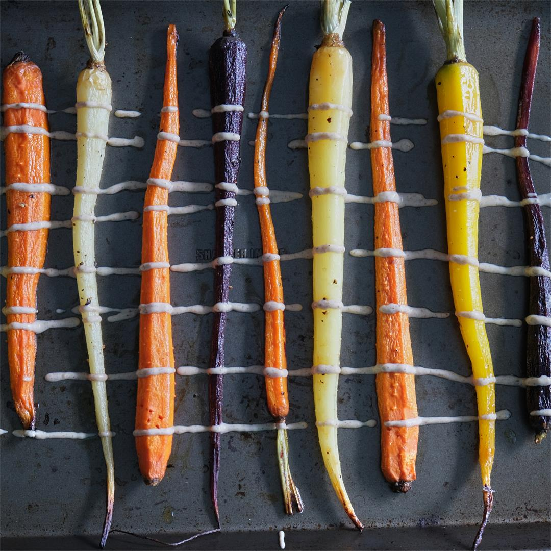 Roasted Maple-Butter Carrots with Spiced Cashew-Tahini Sauce