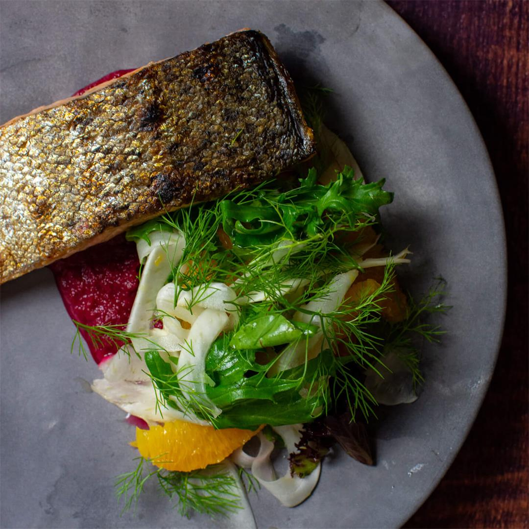 Grilled Salmon & Beetroot Hummus