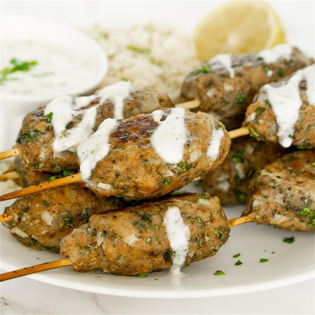Chicken Kofta Kebabs with Garlicky Yogurt Sauce