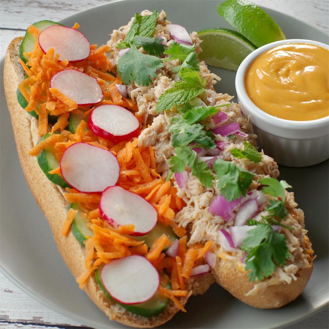 Slow Cooker Chicken Banh Mi Subs