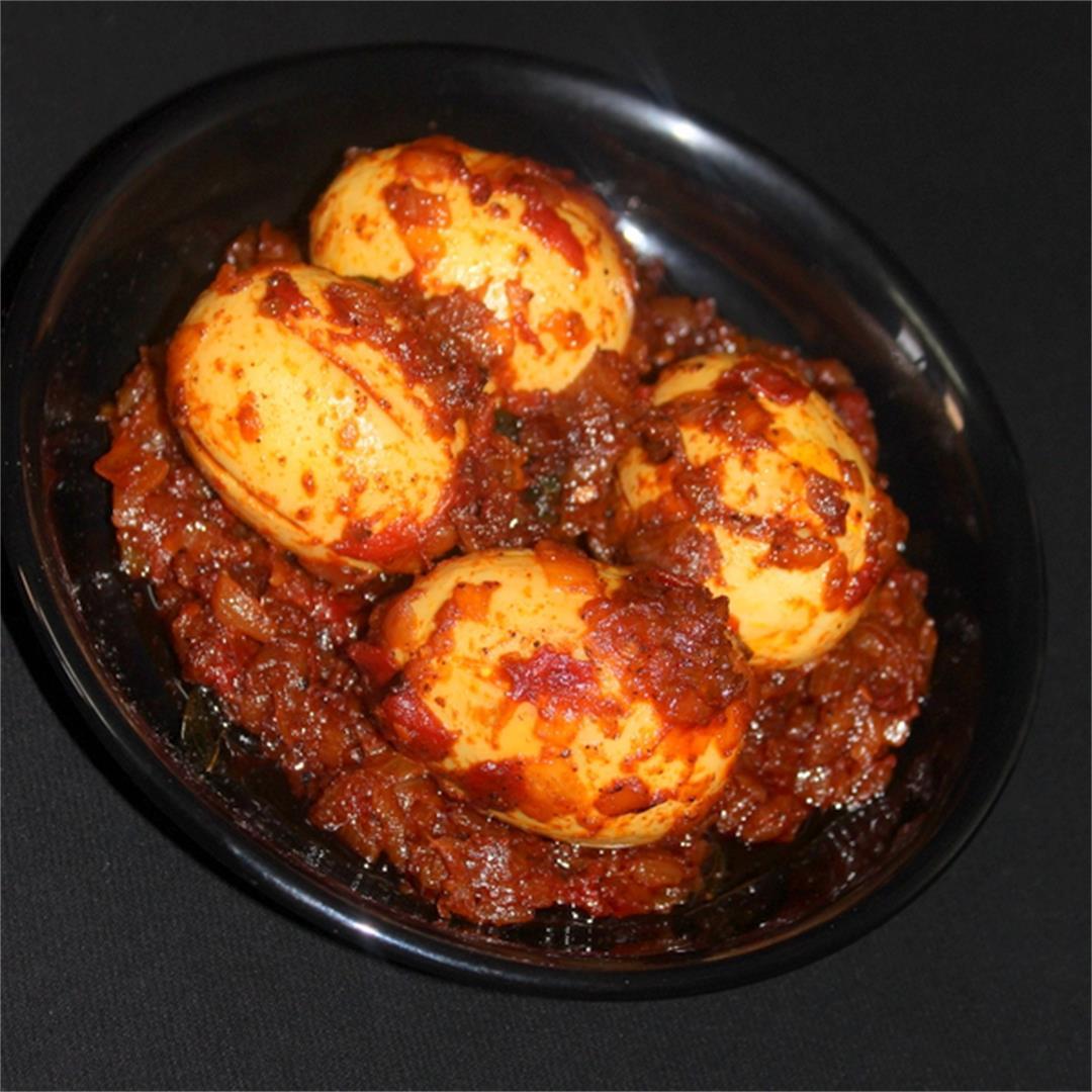 egg roast spicy, kerala mutta roast