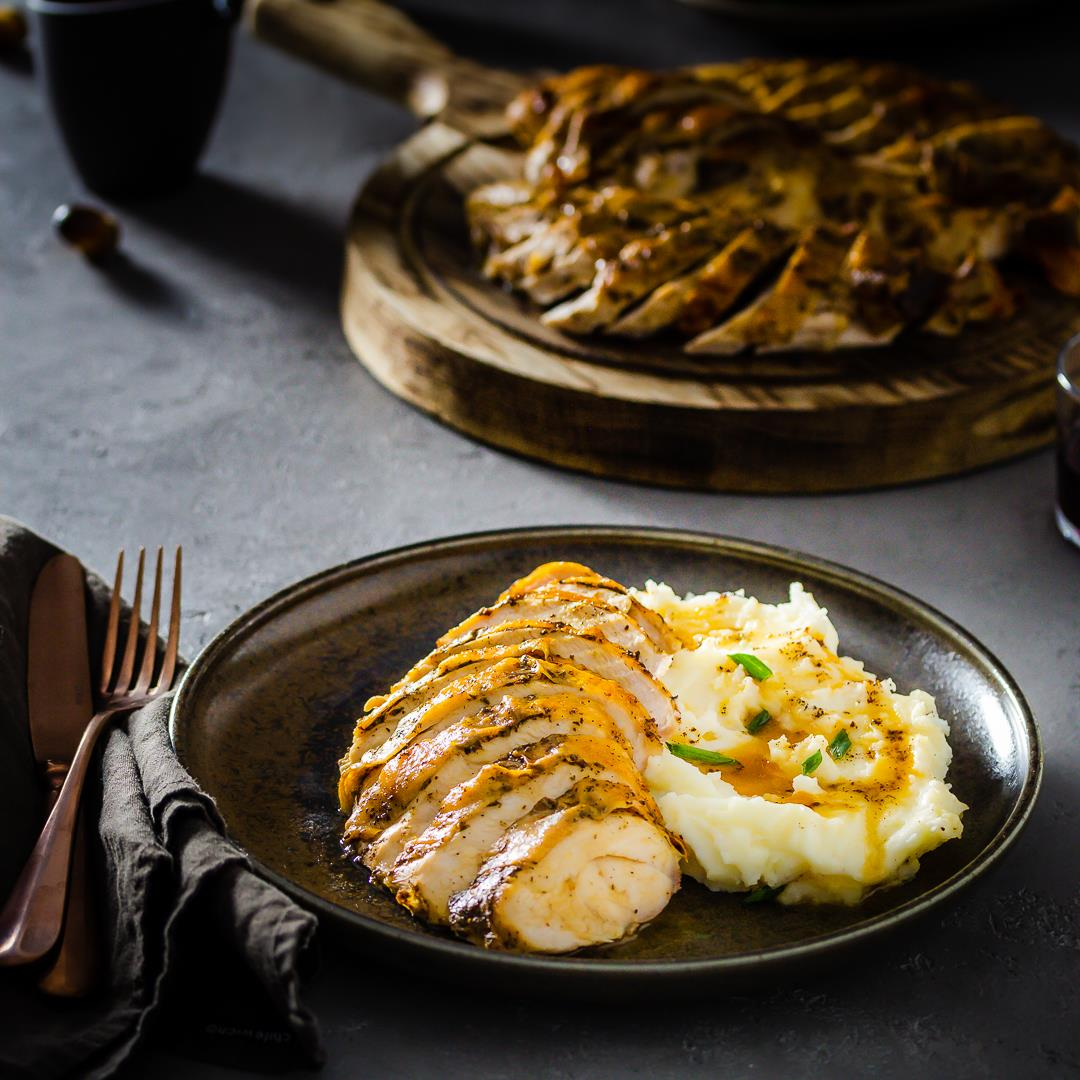 Roasted Turkey Breast with Chili-Herb Brown Butter