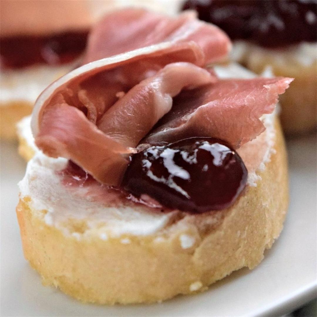 Goat Cheese Prosciutto Lingonberry Jam Bruschetta