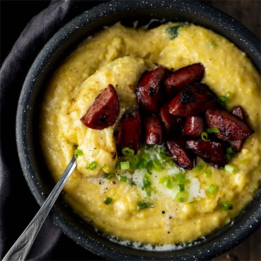 Homemade Cheese Grits with Sausage