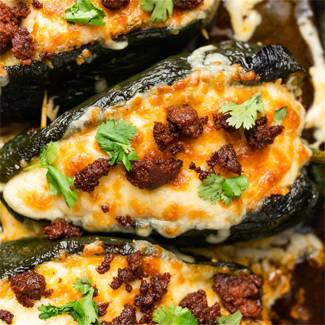 Keto Stuffed Poblano Peppers with Chorizo