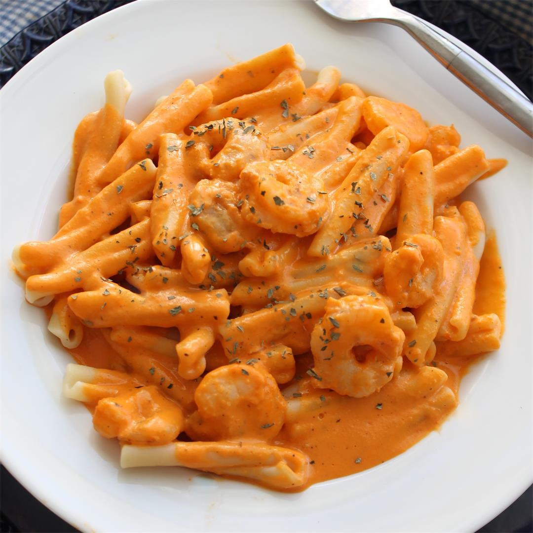 Shrimp with Roasted Pepper Cream Sauce – My Recipe Reviews
