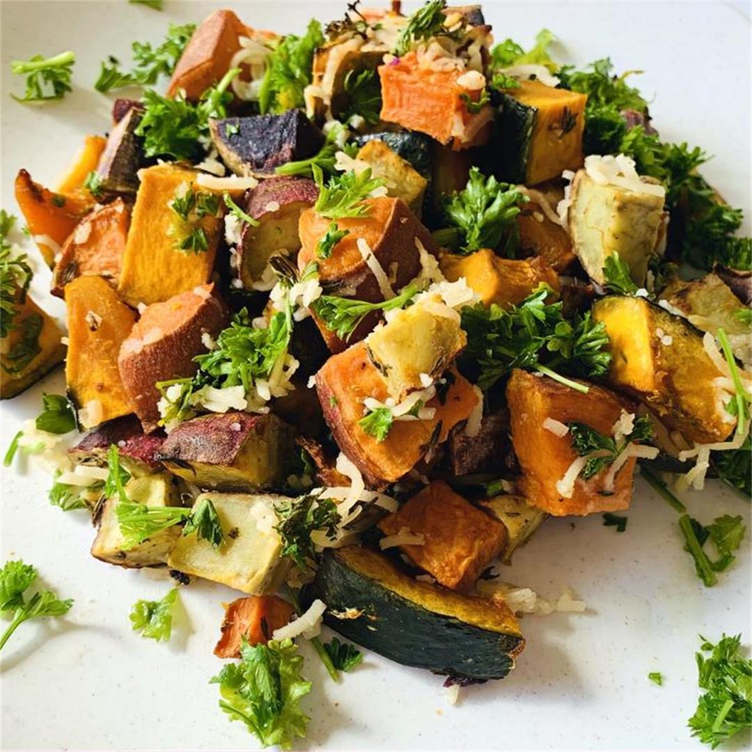 Cheesy Sweet Potato and Kabocha Squash Bake with Fresh Herbs