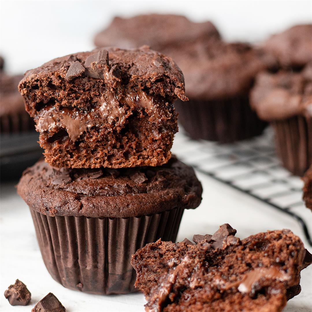 Nutella Stuffed Chocolate Muffin Recipe-Healthy Life Trainer