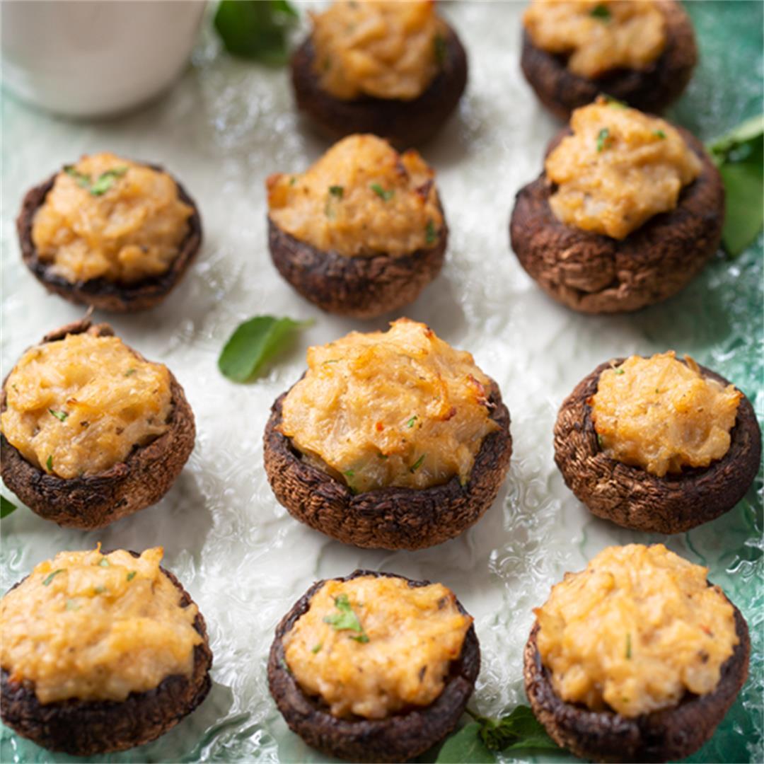 Lemongrass-Basil Stuffed Mushrooms