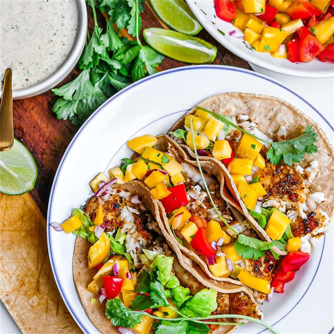 Baked Fish Tacos with Mango Salsa & Creamy White Lightning Sauc