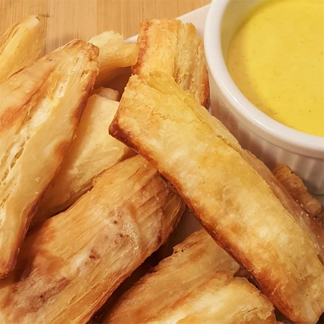 Air Fryer Yuca Fries with Creamy Curry Mustard Sauce