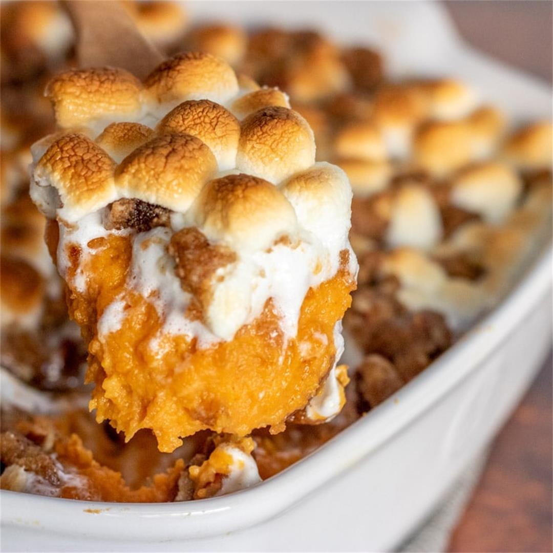Sweet Potato Casserole (with Marshmallows & Pecans)