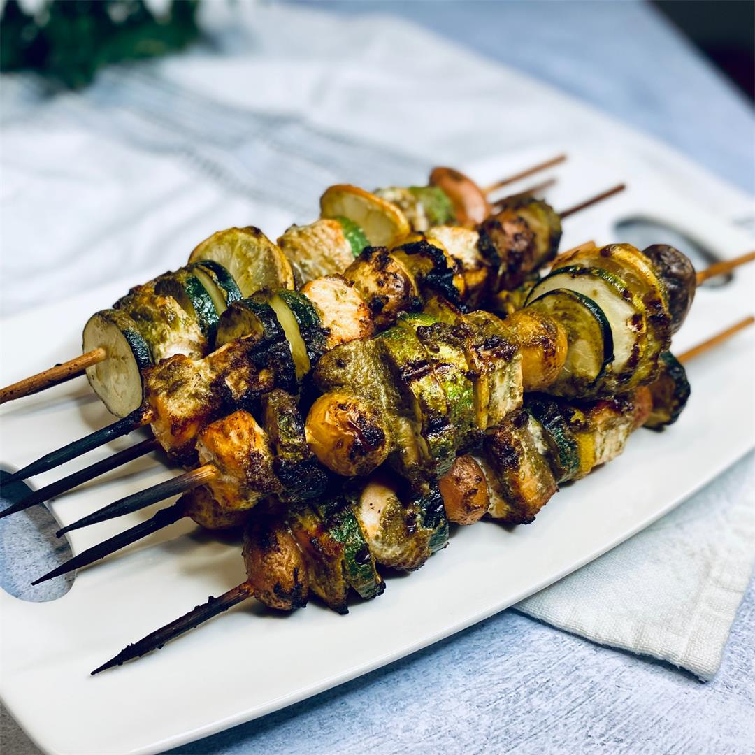 Pesto Salmon Skewers