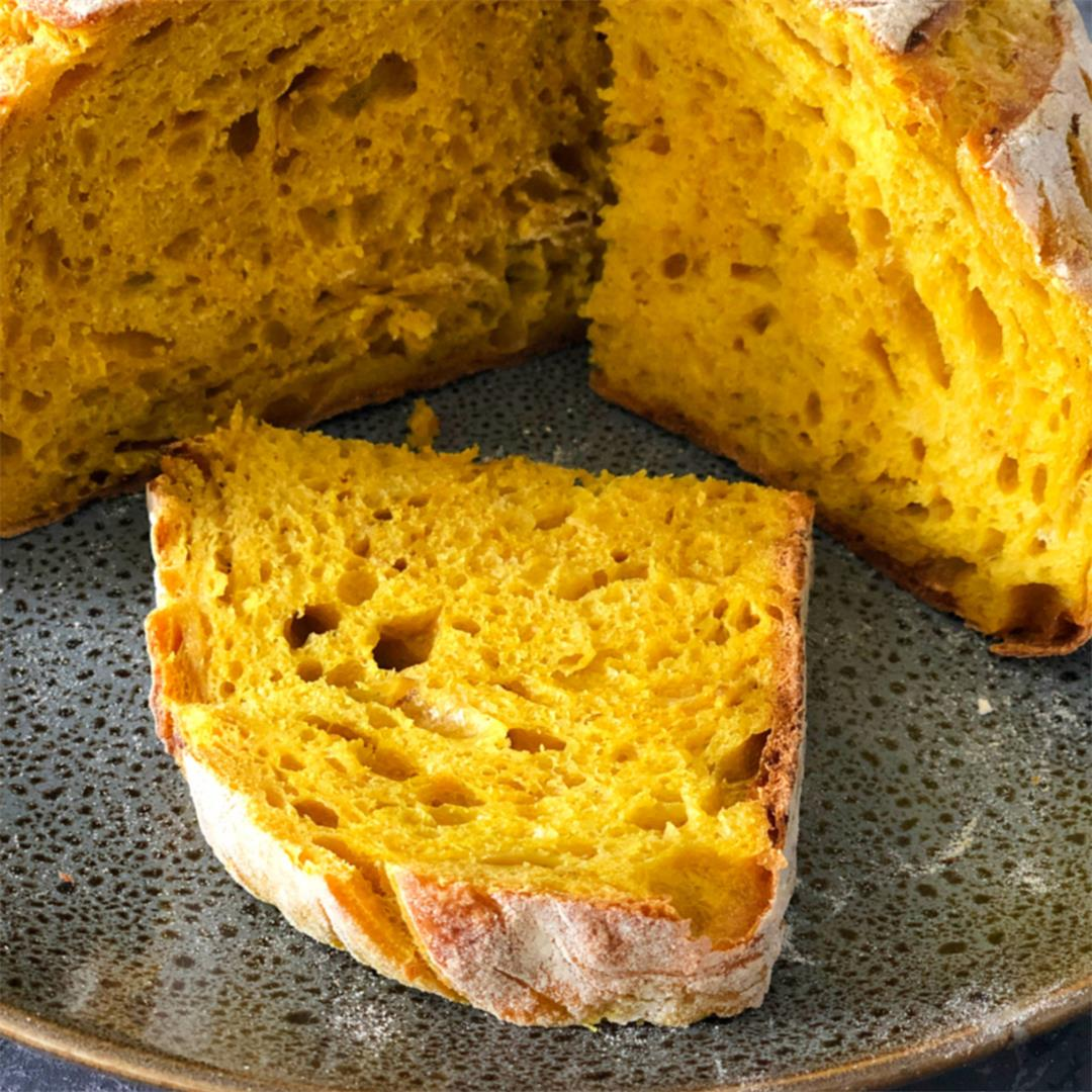 Sourdough turmeric and onion bread