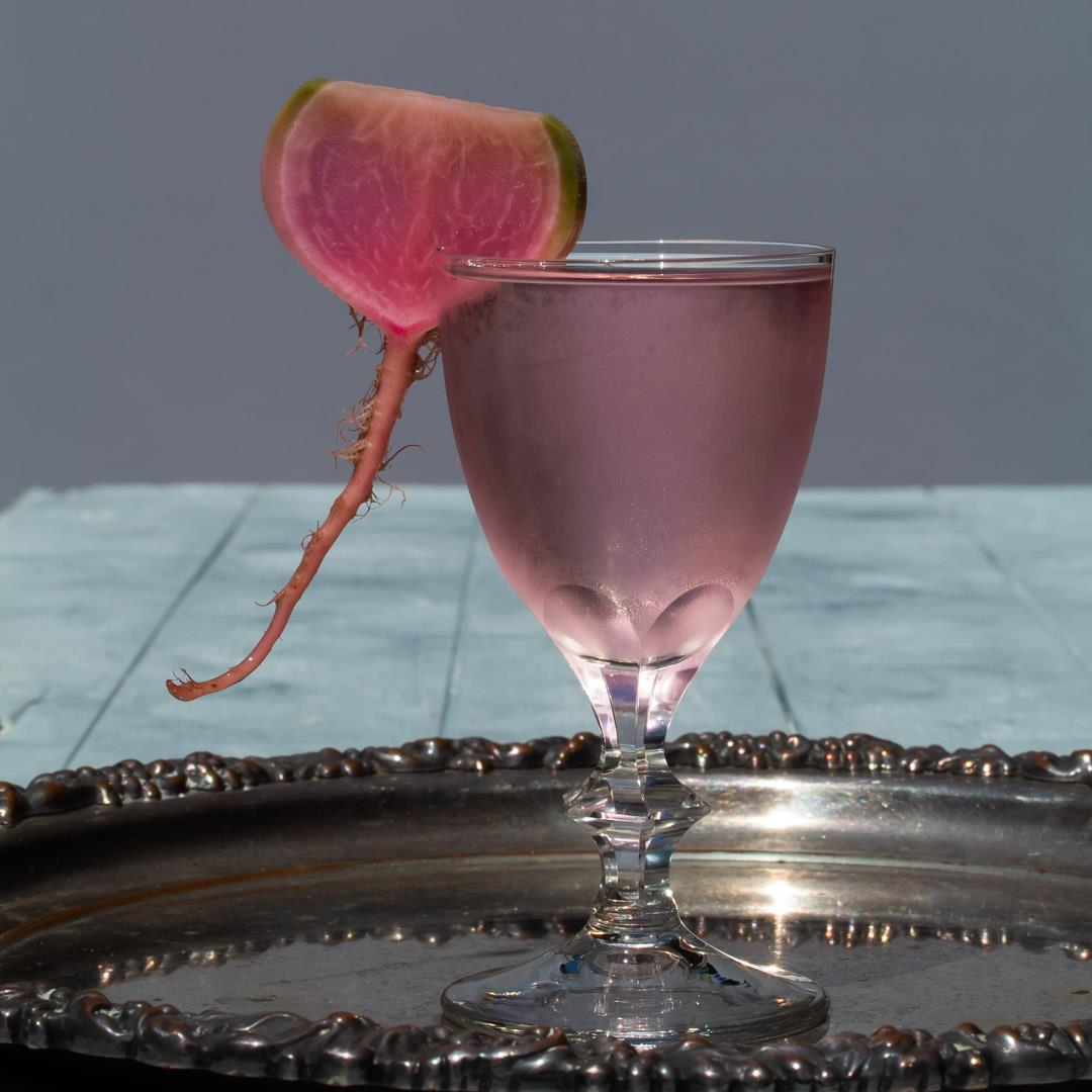 Fermented watermelon radish martini