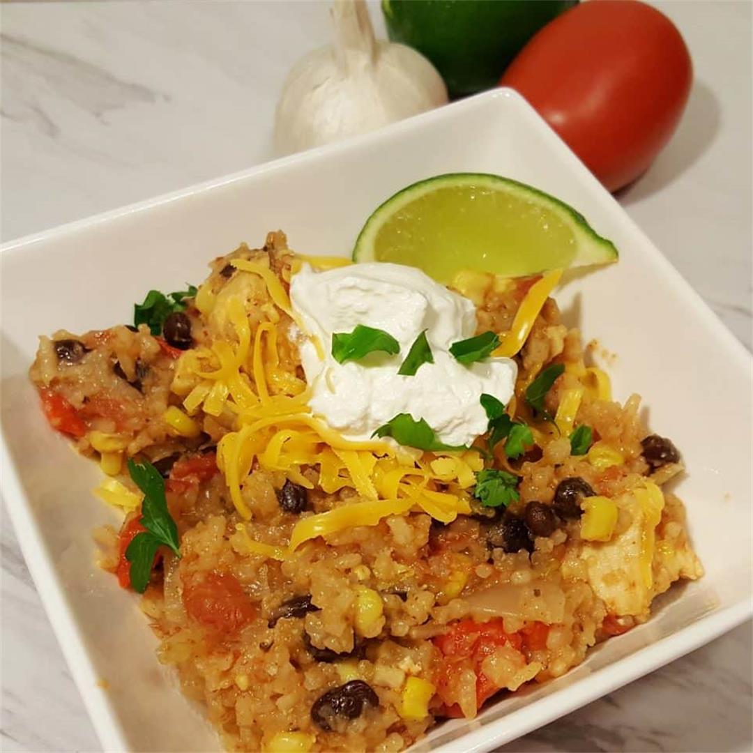 Pressure Cooker Chicken Burrito Bowls [Instant Pot]