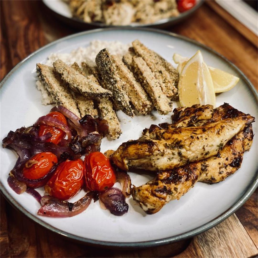 Mediterranean Chicken and Eggplant Fries