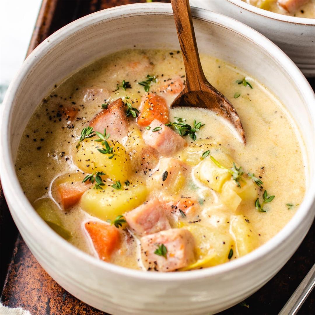 Creamy Ham Potato Chowder (dairy-free, paleo, healthy)
