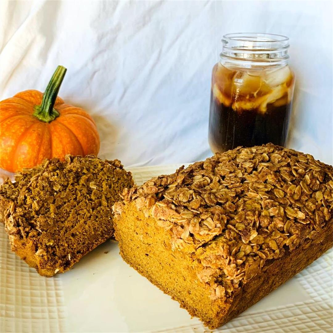 Pumpkin bread topped with a peanut butter crumble