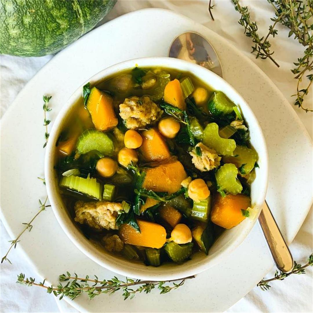 Kabocha Squash, Chickpea, and Sausage soup