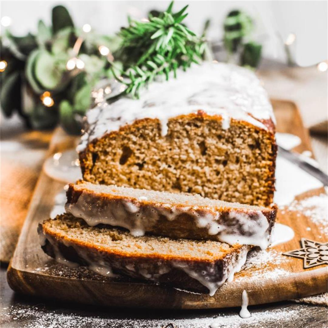 Gingerbread Cake with Boozy Eggnog Glaze