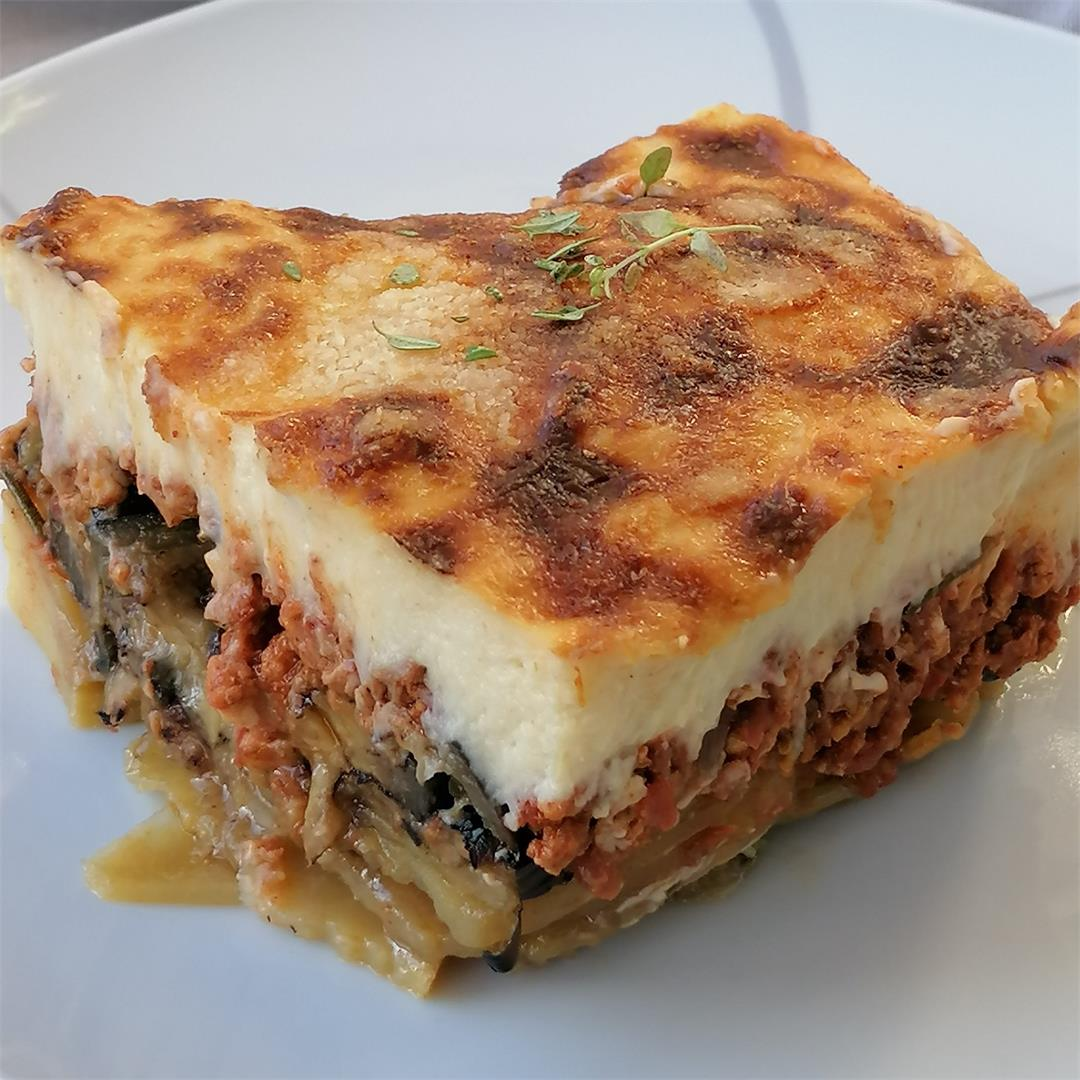 Best Greek beef Moussaka with potatoes, eggplant and zucchini