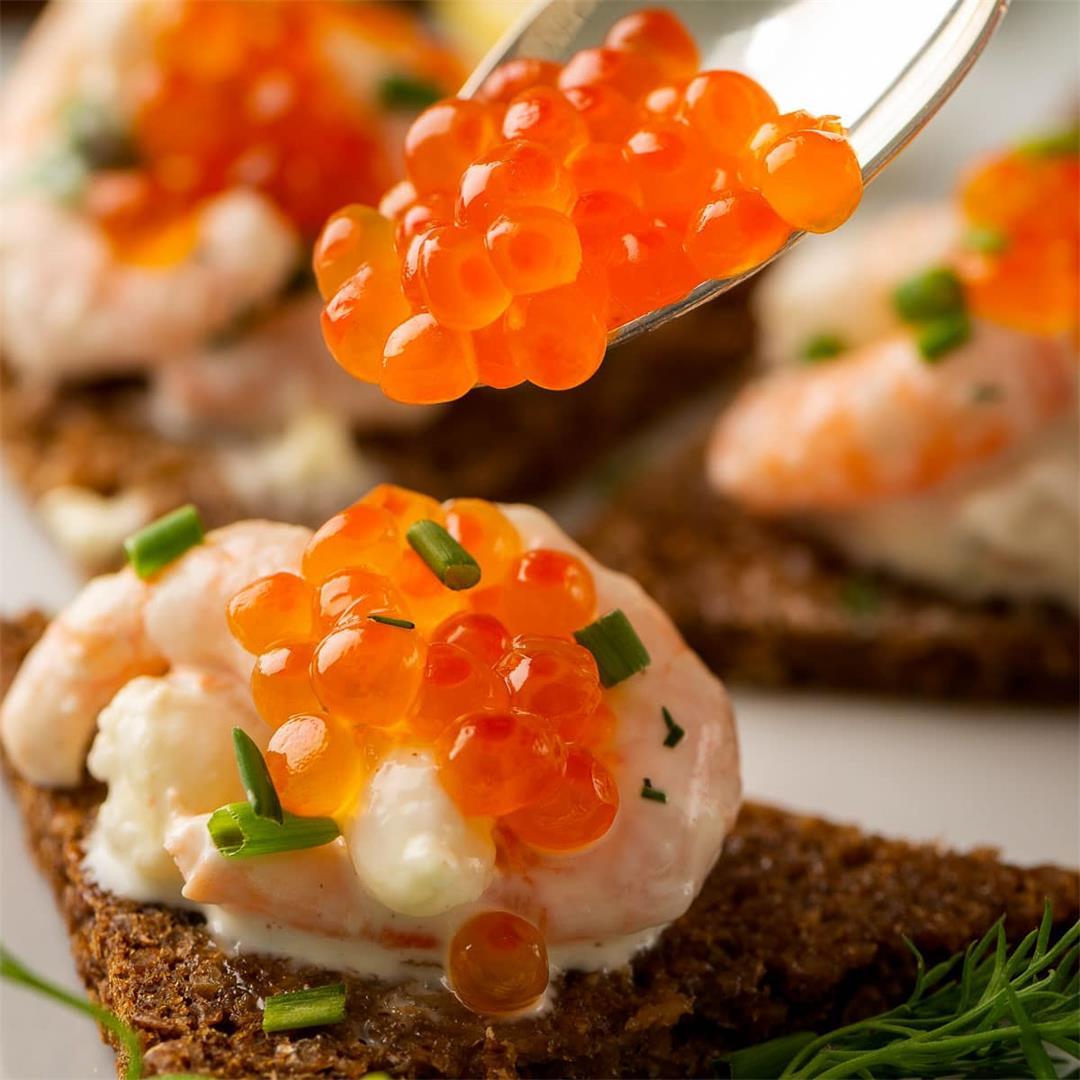 Swedish Toast Skagen on Pumpernickel Bread
