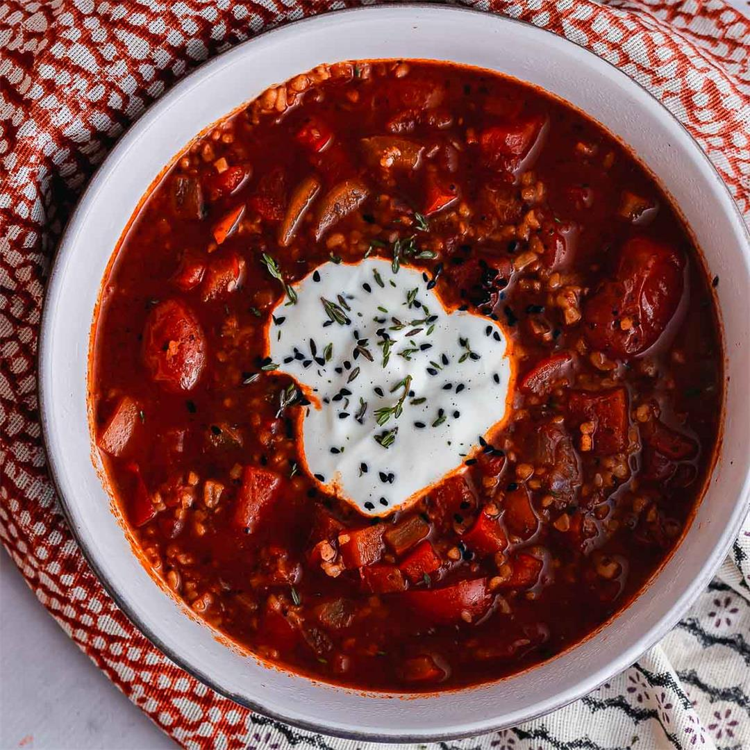 Spicy Tomato Soup with Bulgur Wheat