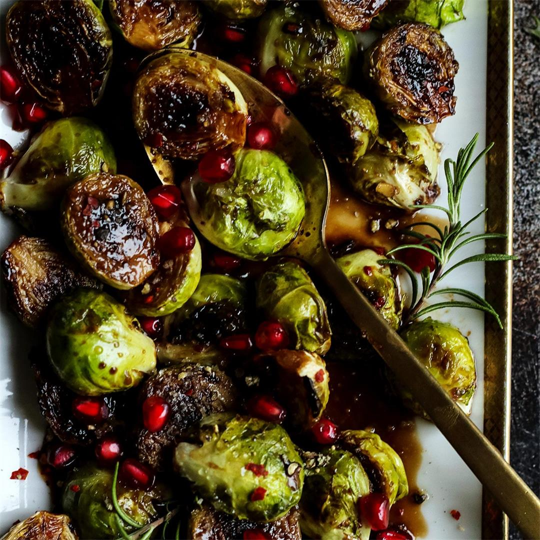 Pan Seared Balsamic Glazed Brussels Sprouts