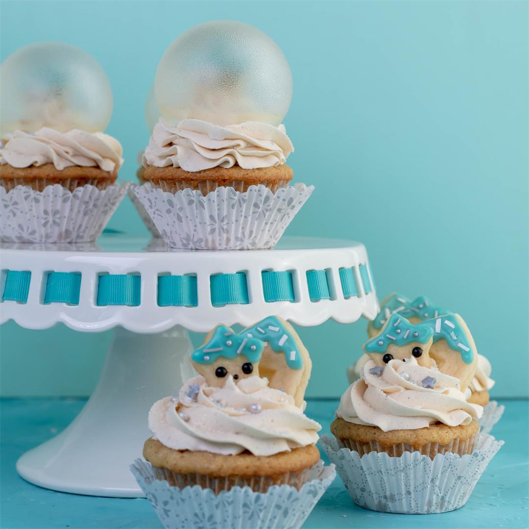 Eggnog Snow Globe Cupcakes