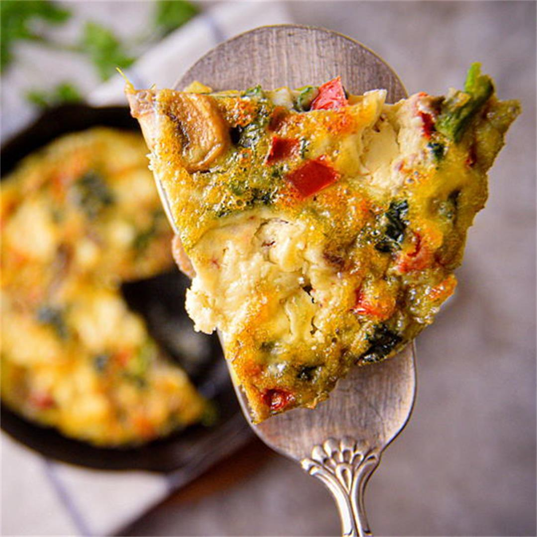Electric Skillet Vegetable and Goat Cheese Frittata