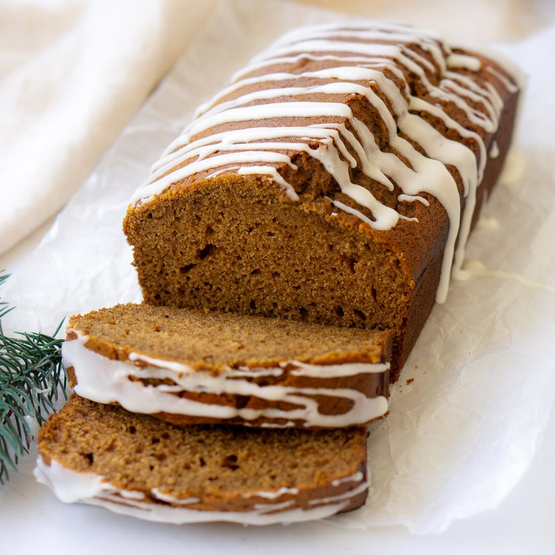 Vegan Gingerbread Loaf with Orange Glaze