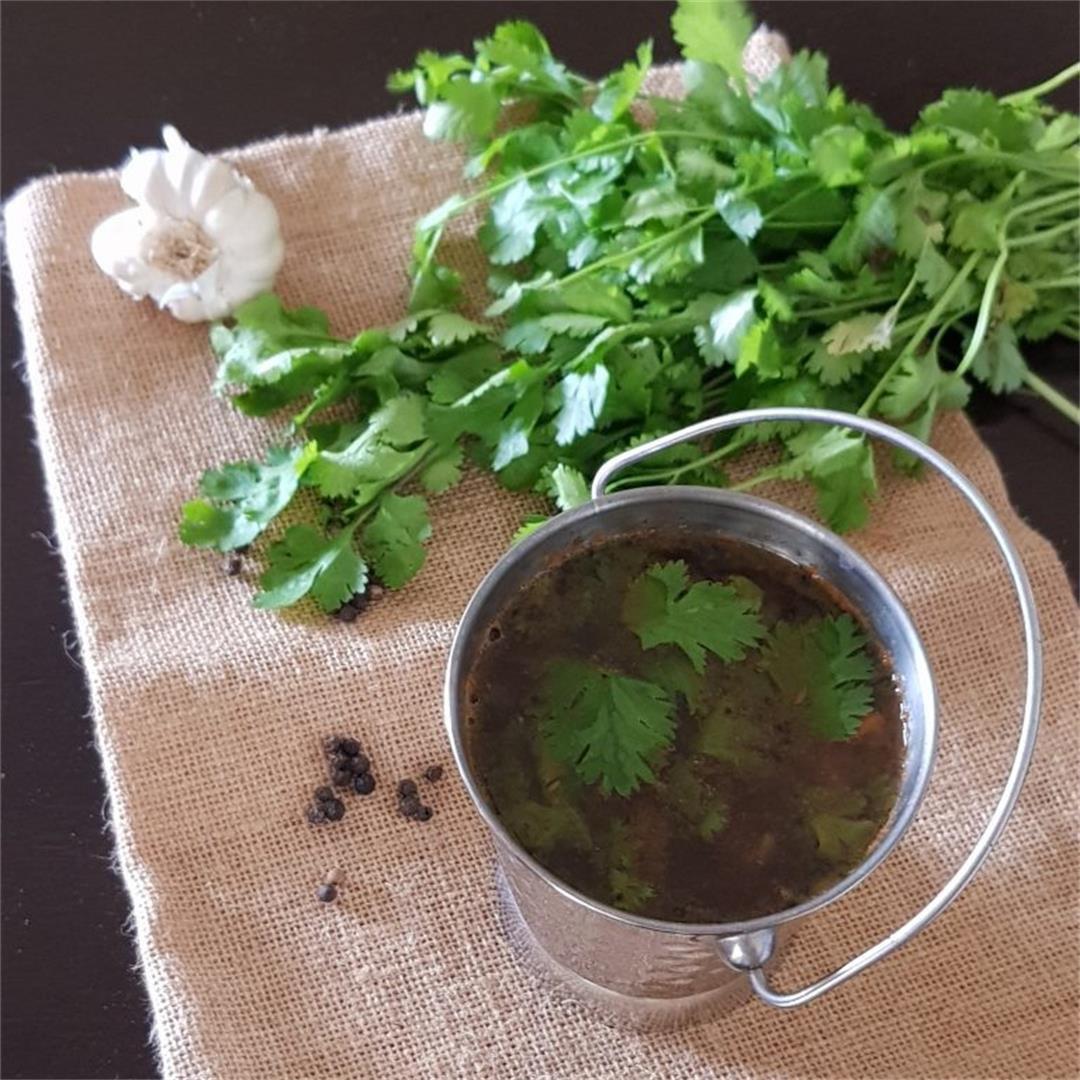 Tamarind/Puli Rasam With Fresh Rasam Powder Mixture. VEGETARIAN