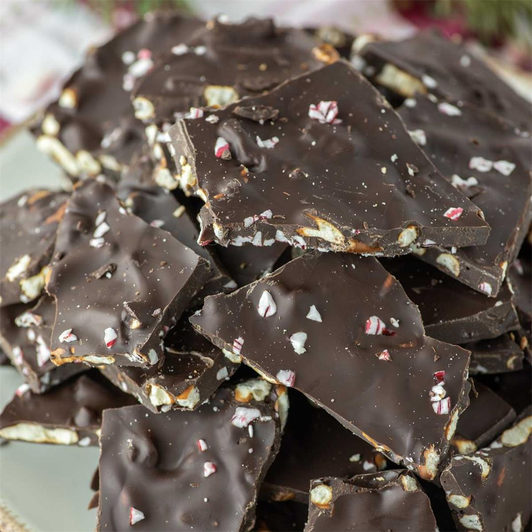 Dark Chocolate Peppermint Pretzel Bark