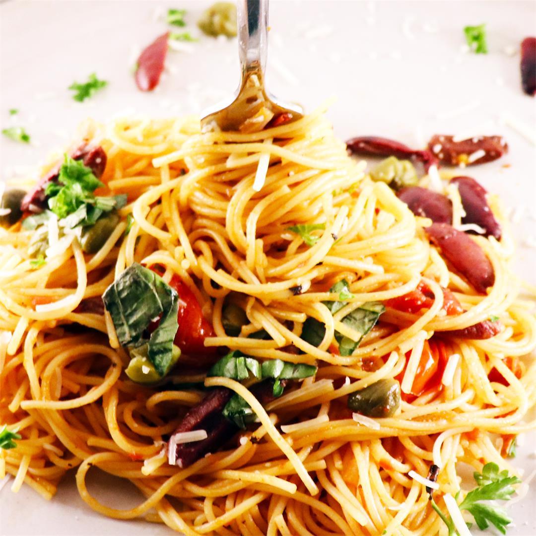 Pasta Puttanesca with Kalamata Olives
