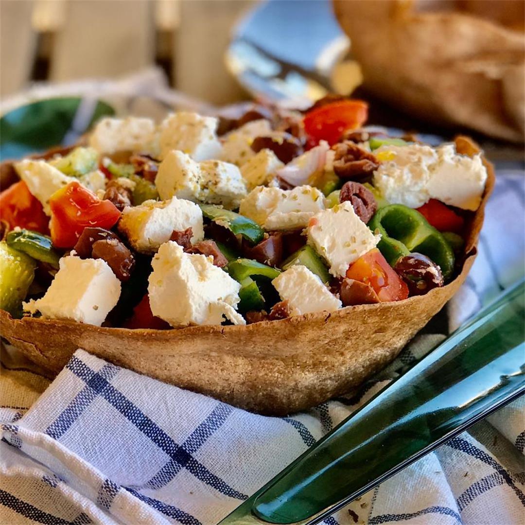 Greek salad in a tortilla bowl