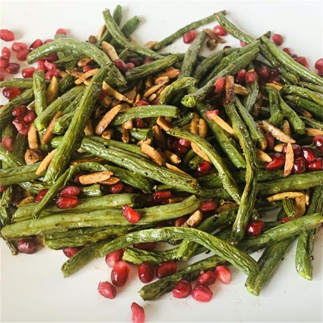 Sautéed Green Beans with Toasted Almonds and Pomegranates