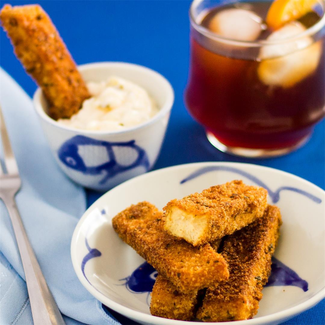 Tofu Fish Sticks - A great way to use frozen tofu.